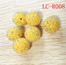 Newset 20 مللي متر 100 قطعة/الوحدة الأصفر اللون 100 قطعة/الوحدة مكتنزة واضح AB الراتنج الراين الكرة الخرز لصنع قلادة