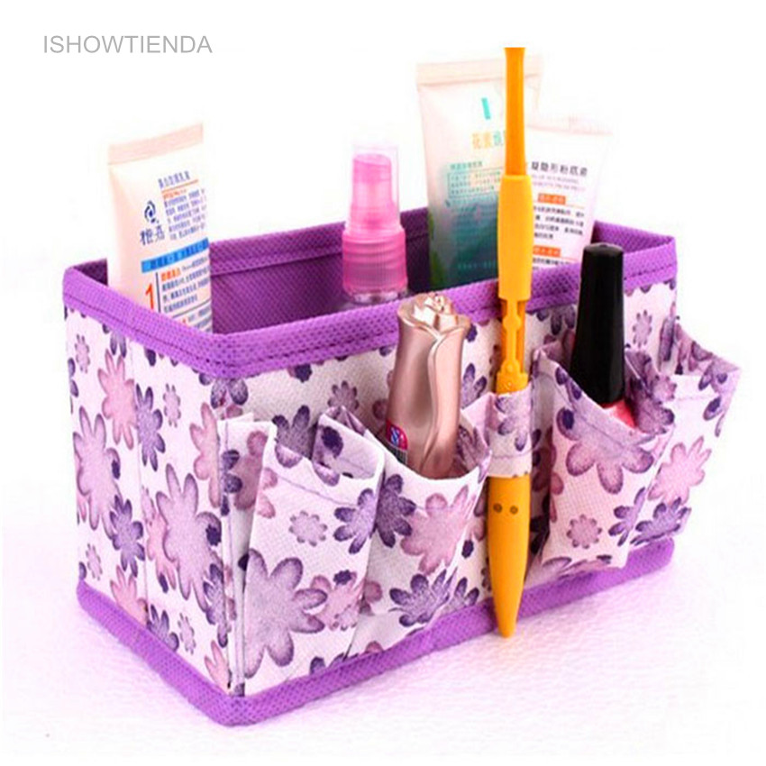 ISHOWTIENDA 2016 Newly 1PC 18*10.6*10 cm(Open) Makeup Cosmetic Storage Box Bag Bright Organiser Foldable Stationary Container