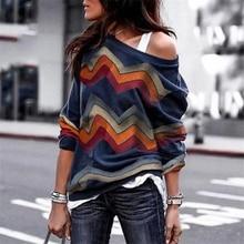 Модный принт с открытыми плечами рубашки с длинным рукавом Повседневная Толстовка Топы стиль пэчворк узор пуловер Топы Femininas SJ1304U