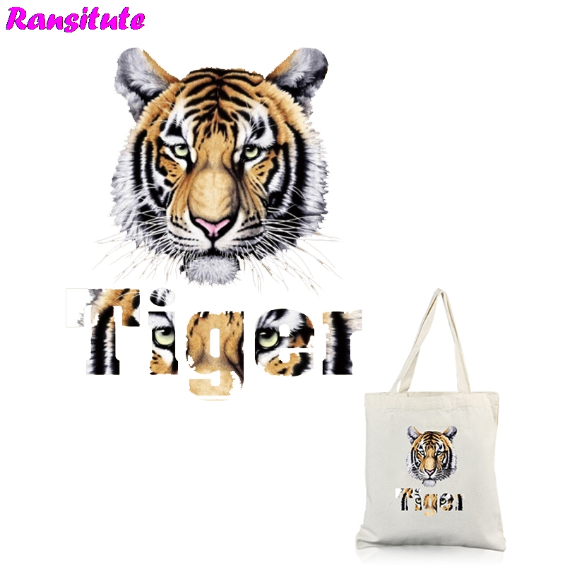 Ransitute R348 Tiger Personality Clothing Patch DIY Printing T-shirt Sweater Thermal Transfer Washable Heat Transfer Decals