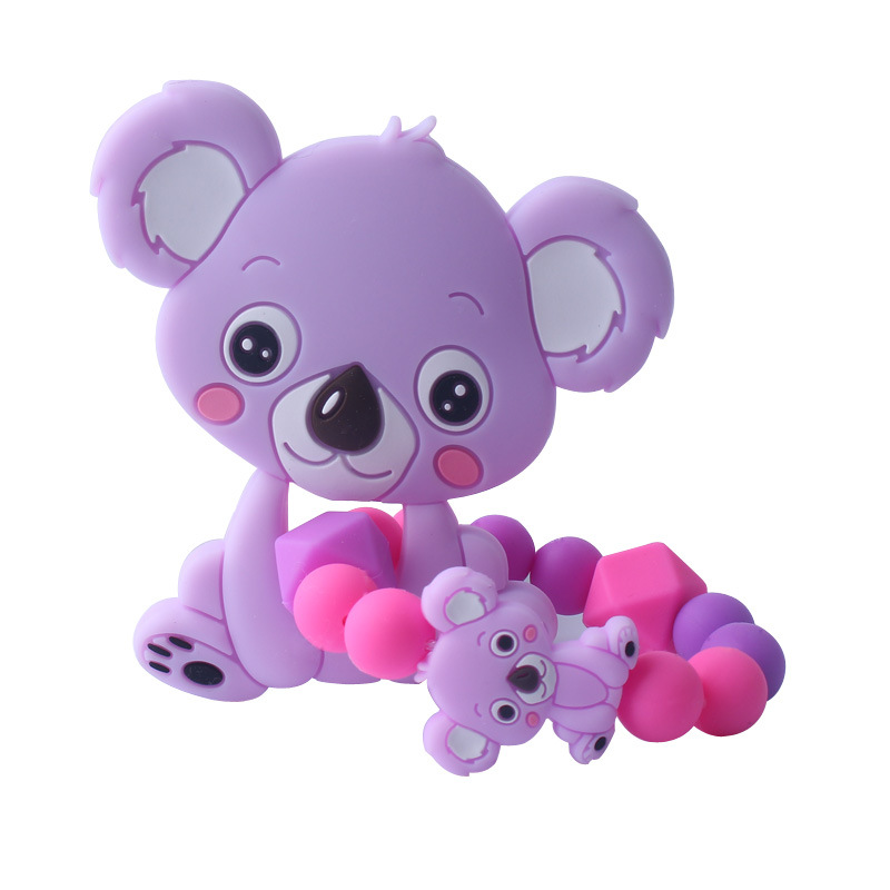 Food Grade Silicone Teethers Infant Baby Silicone Chew Charms Kids Teething Gifts Toddler Toy DIY Animal Koala Baby Ring Teether (5)