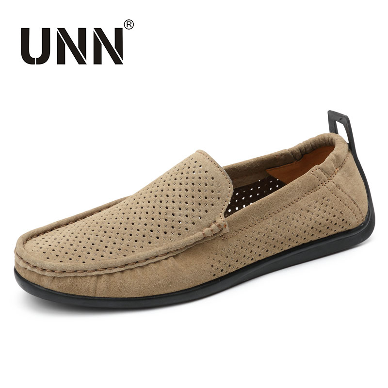 цены UNN Summer Dress Loafers Men Shoes Casual Genuine Leather Hollow Flats Soft Male Moccasins Breathable Slip on Driving Boat Shoes