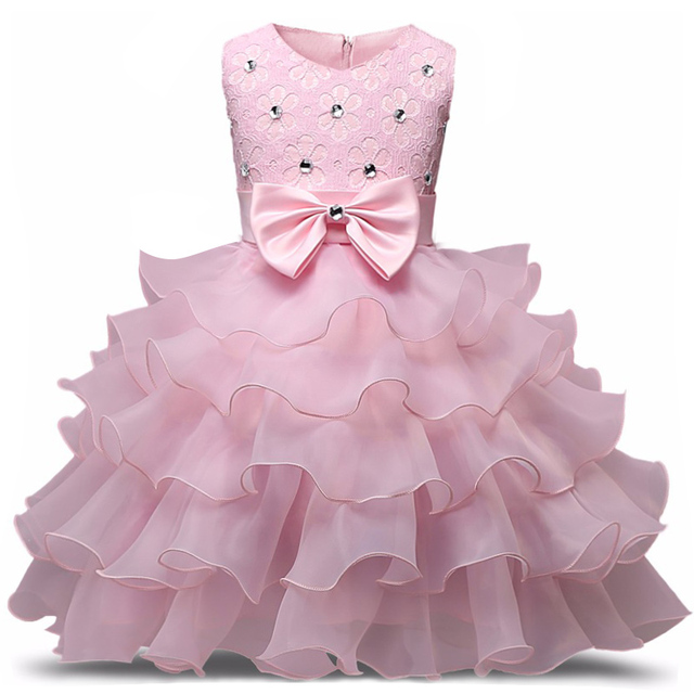 7d1094e3d0b Flower Girl Dress Formal 3-8 Years Floral Baby Girls Dresses Vestidos 9  Colors Wedding Party Children Clothes Birthday Clothing