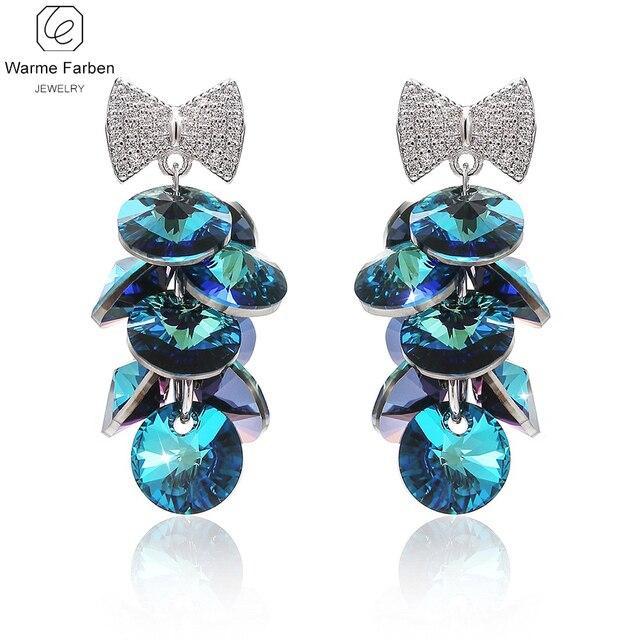 Warme Farben Fine Jewelry Earrings Women Crystal From Swarovski Bow Long Tel Dorp Wedding