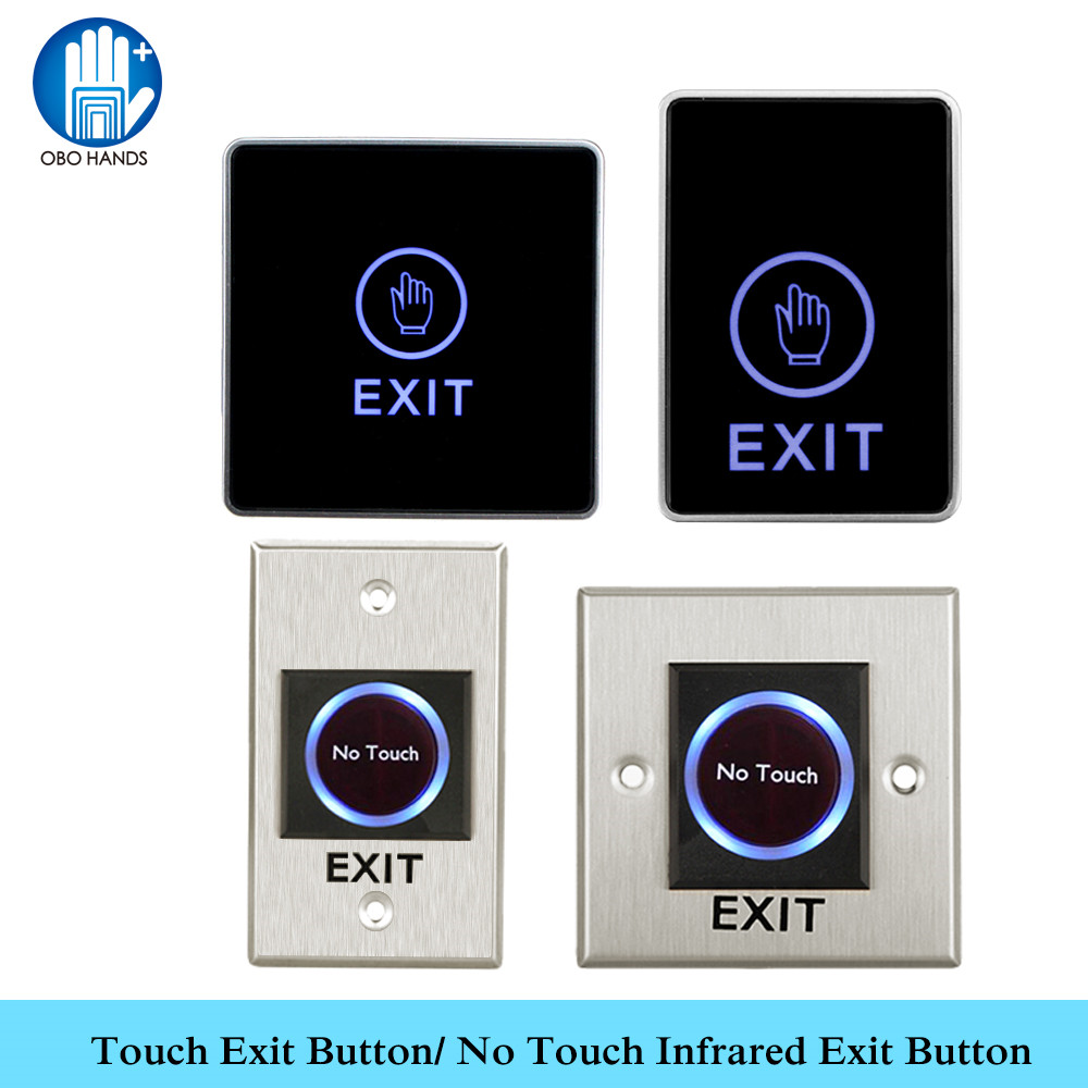 NO//NC//COM Backlight LED Touch Exit Button Wall Mount Exit Push Door Switch 86