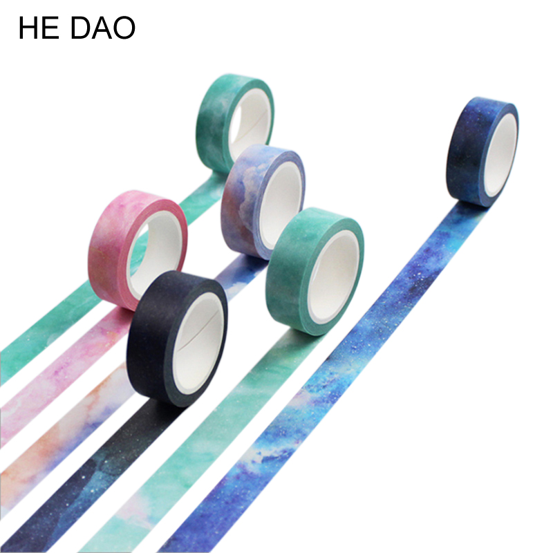 1PCS Twilight Dream Nebula Paper Washi Tape 15mm*8m Masking Tapes For Diary Album Scrapbooking Decoration Stationery 1pcs 15mm 10m kawaii scrapbooking tools diy solid color white black paper washi tapes masking tape photographic tape 02492