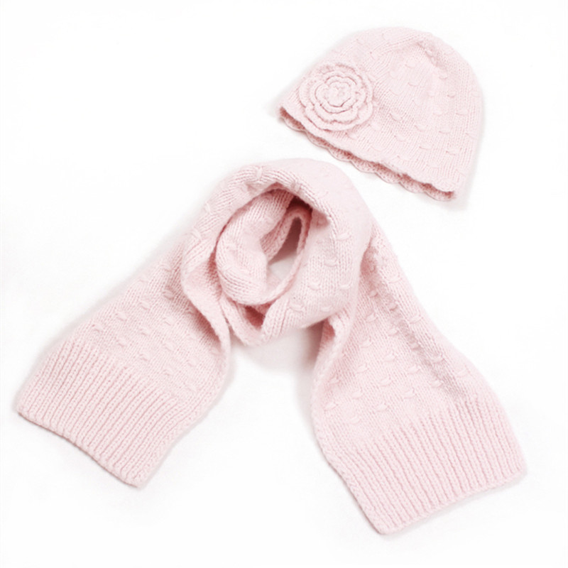 100% Hand Made Pure Goat Cashmere Knit Girls Floral Cap Scarf Children Winter Hats 2pcs Set 18x150cm