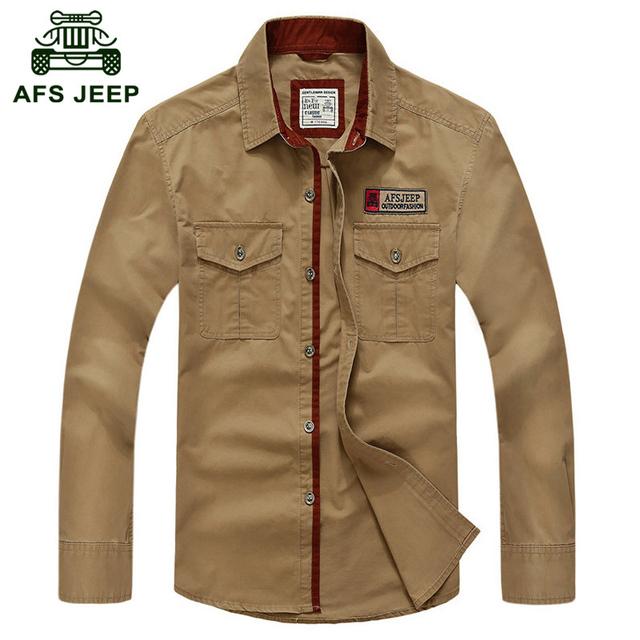Afs jeep gran tamaño s-5xl 2016 primavera marca ocasional de los hombres de largo camisas de manga de otoño hombre camisa de alta calidad 100% algodón de la manera completa