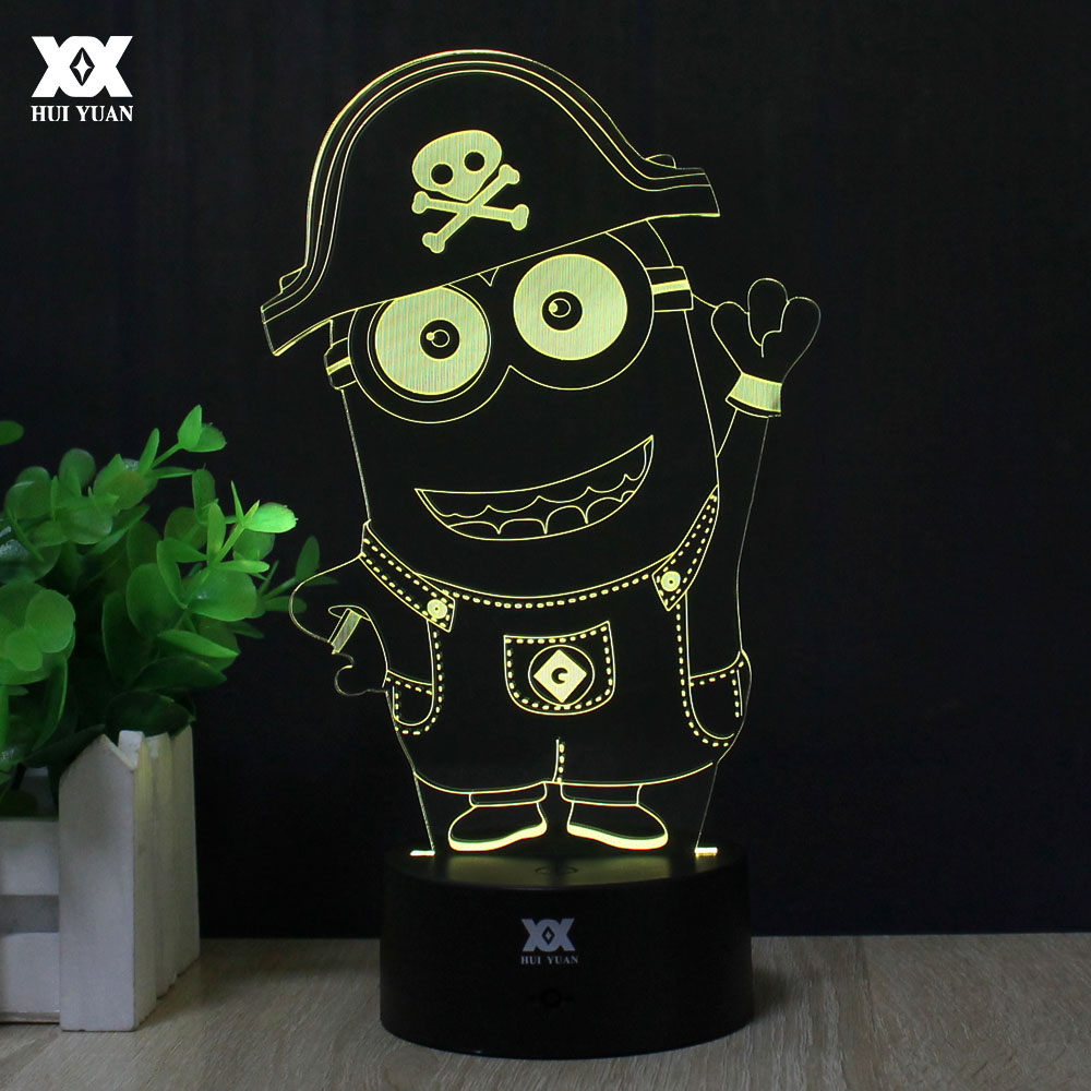 Despicable me Minions 3D Lamp LED Remote Control Night Light USB Decorative Table Lamp Interesting