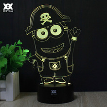 """Despicable me"" Minions 3D Lamp LED Remote Control Night Light USB Decorative Table Lamp Interesting Gift HUI YUAN Brand"