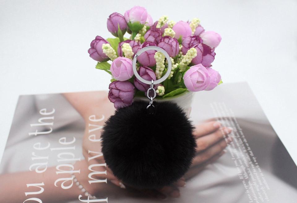 HTB1Dfc1wkKWBuNjy1zjq6AOypXat - 20 Colors Fluffy Fur Pom Pom Keychains Soft Faux Rex Rabbit Fur Ball Car Keyring Pompom Key Chains Women Bag Pendant Jewelry Diy