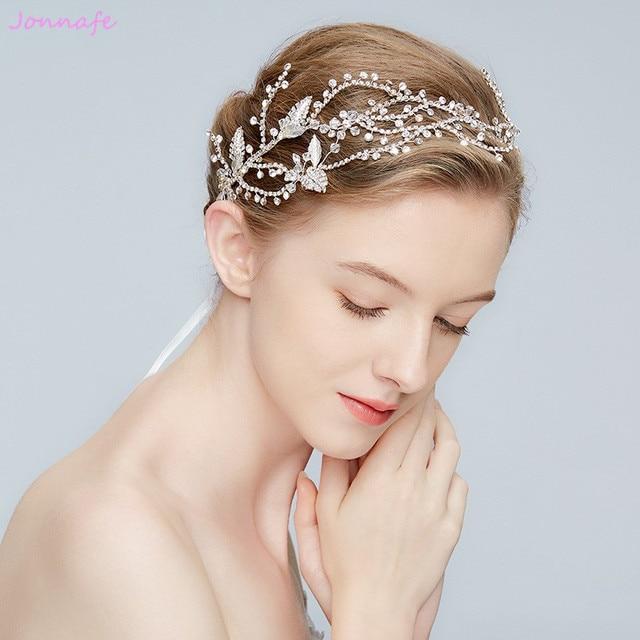 dcd9973c4dbc51 Jonnafe 2018 Stunning Hochzeit Tiara Strass Stirnband Silber Braut Haar  Crown Zubehör Frauen Prom Haar Stück Schmuck