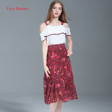 Fairy Dreams 2 Piece Set Women White Shirt Off Shoulder Tops And Print Skirt Suits The Feminine 2017 Summer Fashion Clothing