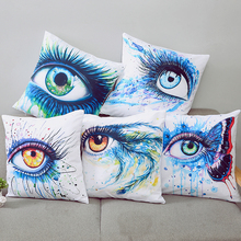 цены 45*45cm Eyes Painting Cotton Linen Pillow Case Sofa Home Decorative Pillow Nordic Cushion Cover for Sofa Throw Pillow Case