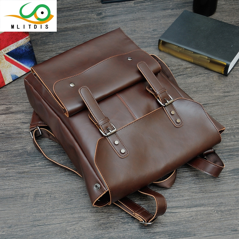 ФОТО MLITDIS Bags For Men Backpack Leather Backpack Laptop Man school bags for teenagers Morral Cuero Hombre Novas Mochilas Homens
