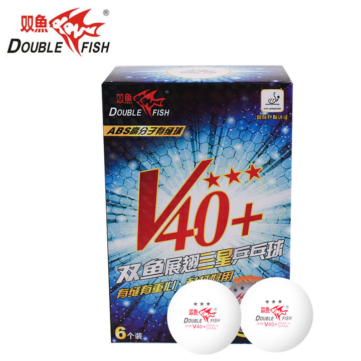 Double Fish 3-Star V40+ Table Tennis Balls 40+ New Material Seamed Plastic ABS Ping Pong Balls