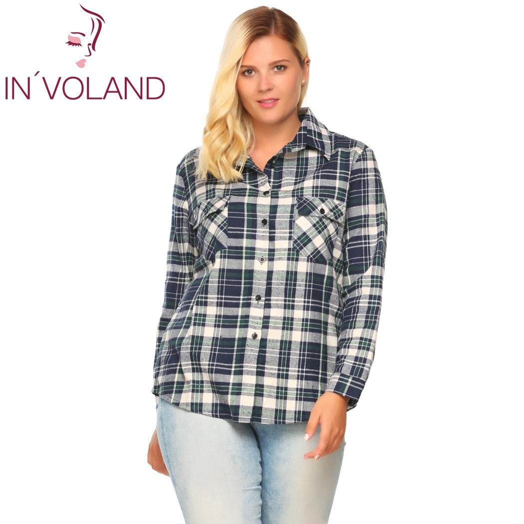 IN'VOLAND Women's Plaid Blouse Blusas Top Plus Size Autumn Classic Roll Up Sleeve Pocket Button Down Shirt Oversized XL-5XL
