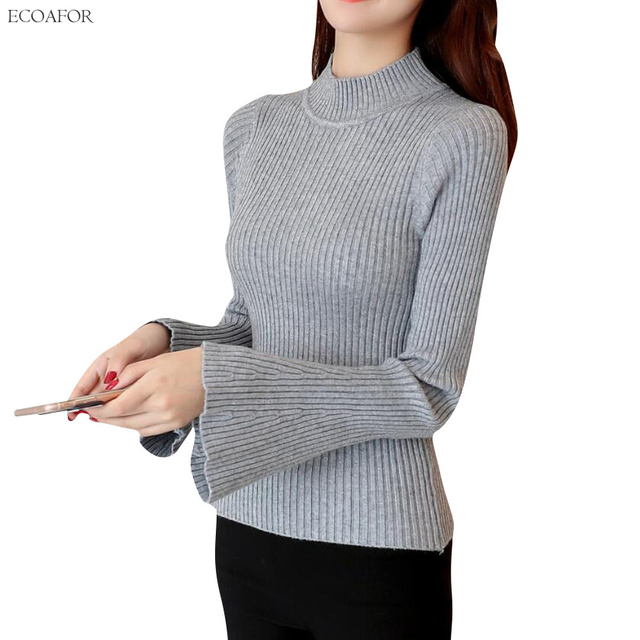 6943ed472b62cf Vintage Flare Sleeve Sweater For Women Half High Neck Bell Sleeve Pullover  Solid Color Jumper Female Slim Waist Knitted Sweaters