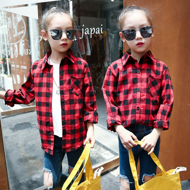 9beac9fb School Girl Blouse Little Big Girls Shirts 2018 Fall Cotton Kids Girls  Shirts Top Child Long Sleeve Shirt Red Black Grid Blouses