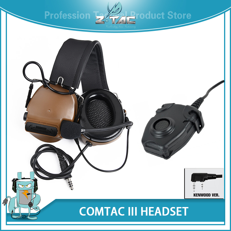 Z-Tactical Airsoft Aviation Comtac III Headset Canceling Headphone Noise Peltor PTT Kenwood for BaoFeng UV-82 Walkie Talkie Z051 все цены