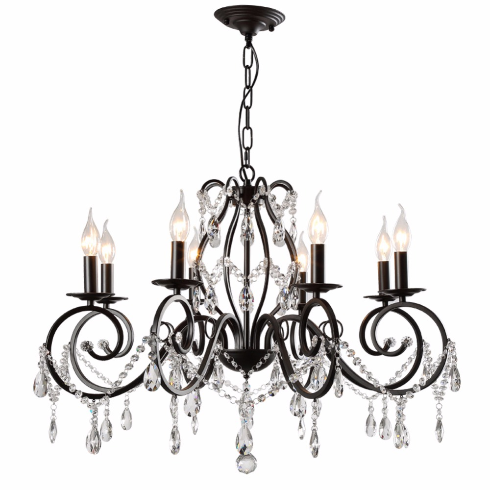 Crystal Chandelier for Dining Room Black Chandelier for Children's Room Decorative Light Fixtures LED Chandeliers Room Lighting