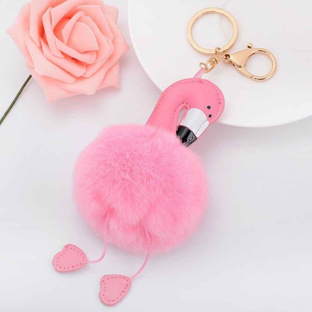 Изысканный мультфильм Фламинго Мех животных мяч брелок для ключей автомобиля сумка с подвесками украшения подарок