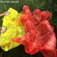 Libre-Envío 1 Par Nueva Danza Del Vientre Velos Abanico de Seda Hecho A Mano De Bambú Costillas Tintes Los Fans de Baile Caliente-venta
