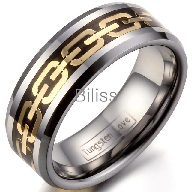 dd5dbe9848c7 8mm Comfort Fit Mens Tungsten Carbide Rings Wedding Band Gold Link Chain  Inlaid Polished Shiny Ring