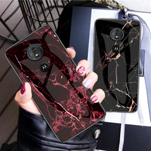 For Moto G6 Play/E5 Case Luxury Marble Tempered Glass Silicone Frame Back Cover Motorola G5S Plus Protective Shell