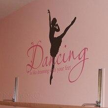 Quotes Ballet Ballerina Wall Sticker Dance Dreaming Feet Vinyl Decals Mural Wallpaper Wall Stickers Modern Ballet Cool Girl Room