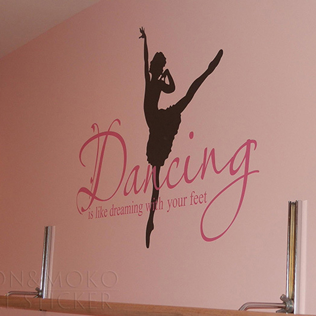 Quotes Ballet Ballerina Wall Sticker Dance Dreaming Feet Vinyl Decals Mural Wallpaper Stickers Modern