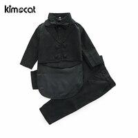 Kimocat New Fashion Baby Boy Clothes Suit+Shirt+Pants Handsome Evening Dress Gentleman Boys Dress Suit Children Costume Tuxedo
