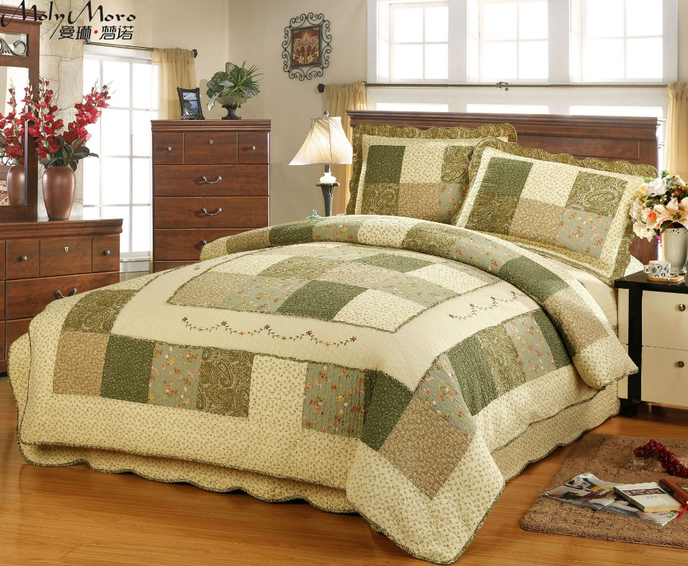Green Bedspread Bettdecke Patchwork Grids Colchas Coverlet
