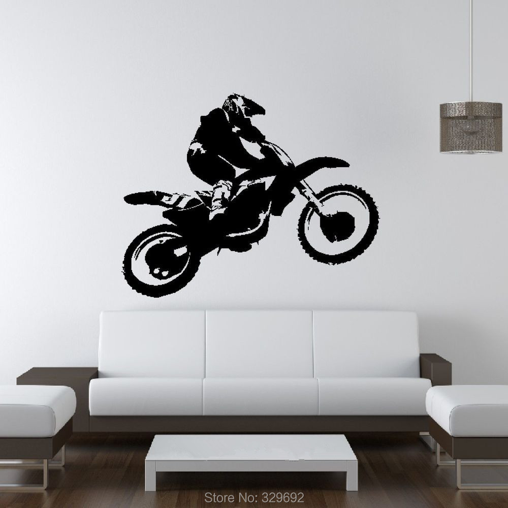 Scrambler motorcycle dirt bike wall art car decal sticker for Dirt bike wall mural