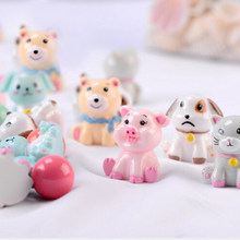 Fairy Garden Ornaments Miniature Resin Pig Dog Cat Bonsai Dollhouse Decoration Mini Animal Statue Miniature Resin Craft(China)