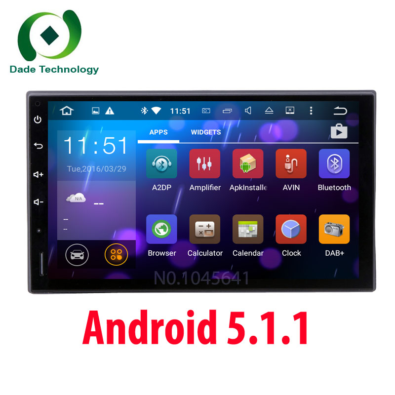 Free shipping Android 5.1.1 Double 2Din Quad core 1024*600 HD Car Radio GPS Universal 2 din car multimedia Stereo auto Navigator