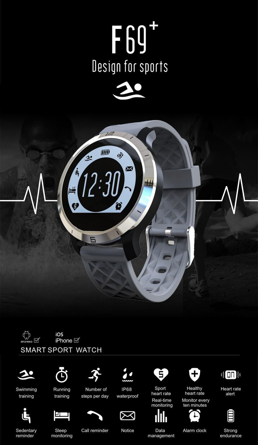 Heart Rate Monitor Bluetooth Smartwatch F69 Sport Swimming Waterproof Watch Pulsometer Smart Watches For Apple iPhone Android  (4)