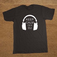 New Keep Calm I M A DJ Party Headphones Rave T Shirt Men Novelty Funny