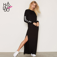 Haoduoyi2017 Autumn New Dress Europe And The United States Fashion Letters Printing Leisure Side Vents Of