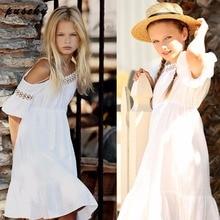 2018 Summer Dress Toddler Kids Girls Lace Flower Princess Dress Off Shoulder Party Pageant Wedding Baby Girl Dresses 2-7T