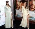 Por Encargo de La Manga Completa Angelina Jolie Estreno Mundial Del Turismo Red Carpet Vestido Cuello En V Profundo de Hendidura Estilo Partido de La Gasa vestidos