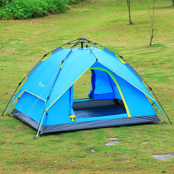 Waterproof  Double Layer Rain-proof Quick Automatic Folding 3-4 Person Outdoor Hiking Camping Tent Four Season Family Picnic Ten otomatik çadır