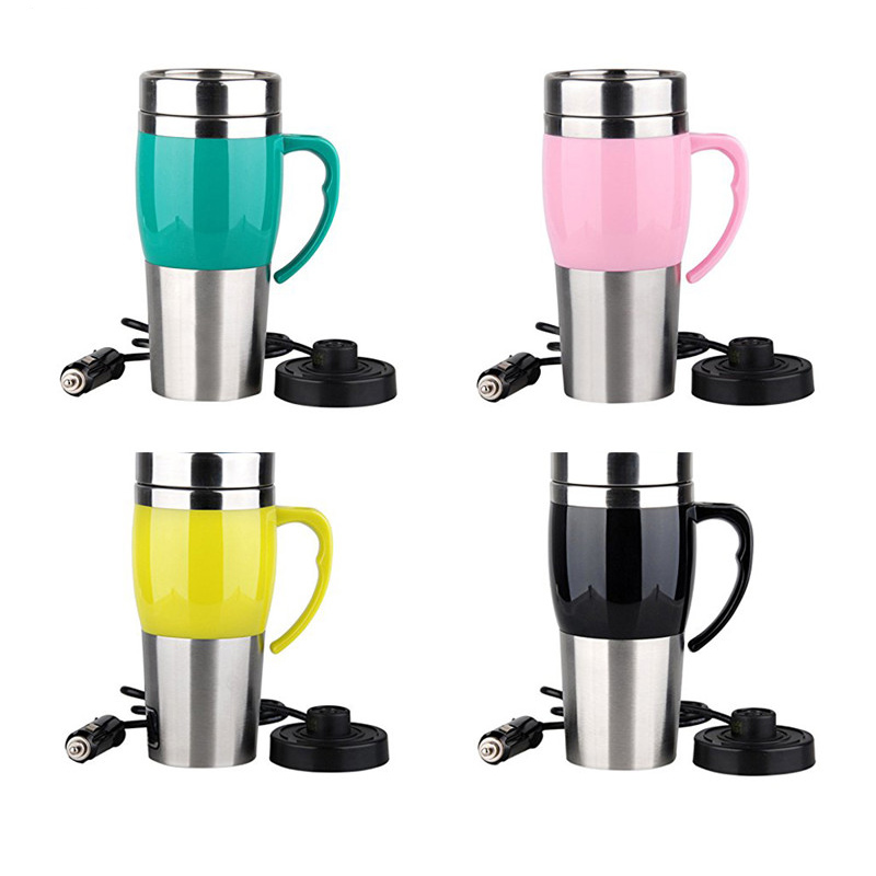 400ml 12V 4Color Car Mini Car Electric Cup Stainless Steel Kettle Travel Trip Coffee Tea Heated Mug Motor Hot Water For Car Use auto car heating cup stainless steel cup travel kettle for coffee tea heated mug motor hot water portable car cup car kit