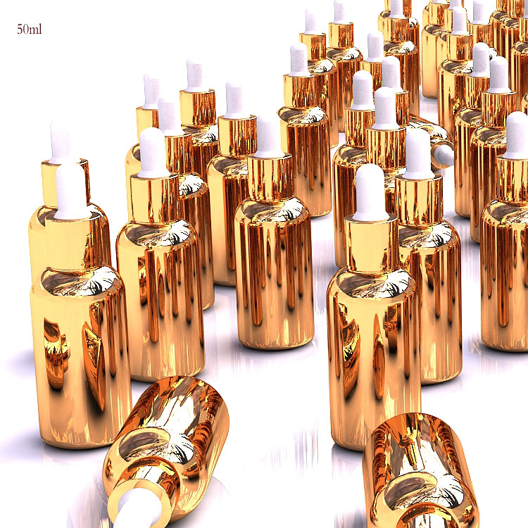 ขายร้อนคุณภาพสูงแก้วสีทองขวดหยด 50ml สำหรับน้ำมันหอมระเหย, แก้วเปล่าขวดน้ำมันหอมระเหย 50ml กับหยดของ