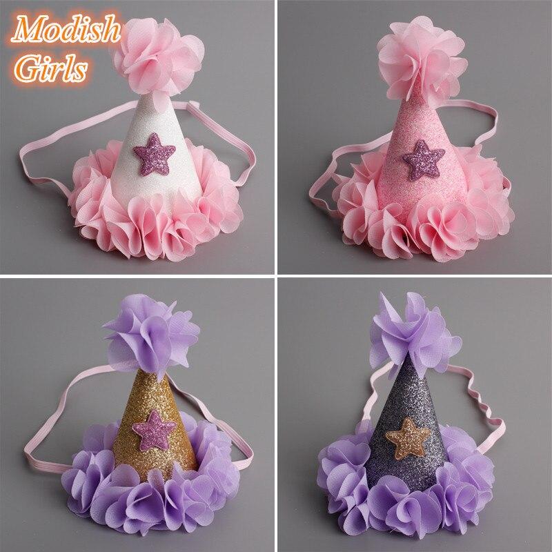 16pcs/lot Handmade Felt Glitter Crown Flower Headbands
