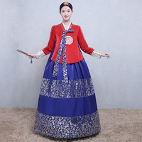 Traditional Hanbok Korean Noble Women Dress Full Sleeve Ball Gown 2PCS Set Cosplay Clothes Chorus Dance Performance Costume
