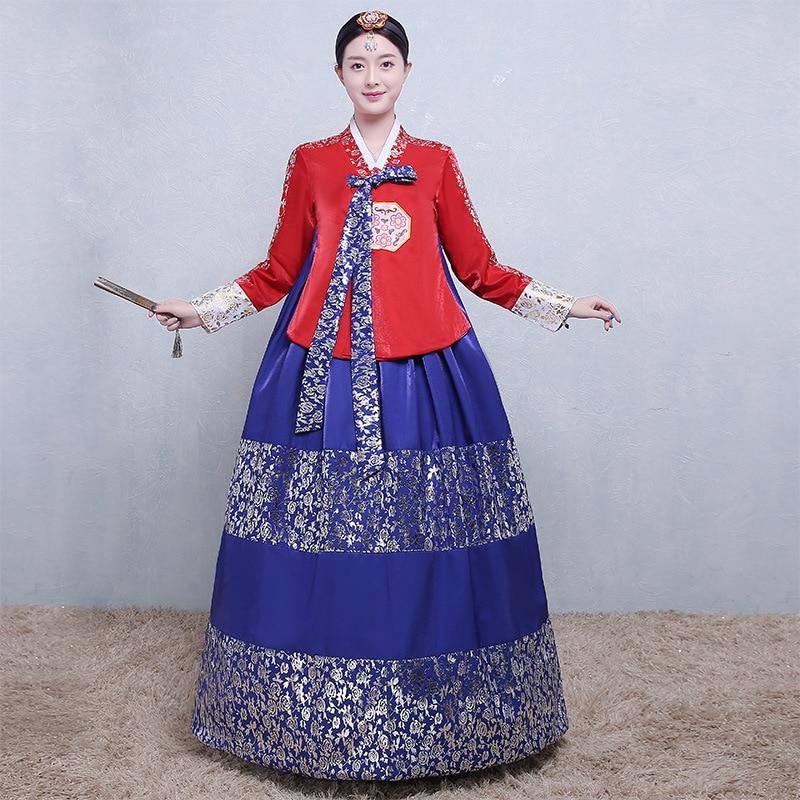 Traditional Hanbok Korean Noble Women Dress Full Sleeve Ball Gown 2PCS Set Cosplay Clothes Chorus Dance Performance Costume