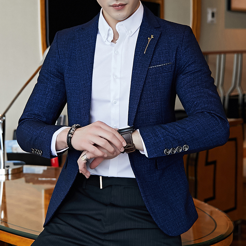 5XL Men's Long Sleeve Suit Jackets, Slim Design Blazer Men, Business Wedding Party Male Suit Coats
