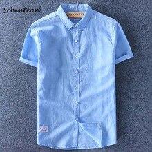 Schinteon Men Cotton Linen Shirt Short Sleeve Thin Top Slim Casual Shirts High Quality White Green Pink Blue