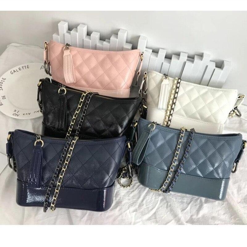 Women's Bag Sheepskin Bag Rhombic Chain Bag Gradient Wandering Bag Mini Shoulder Messenger Genuine Leather Bucket Bag